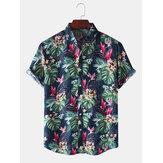 Estilo do feriado Tropical Planta Impresso gola de lapela camisas de manga curta para homem