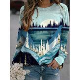 Dames landschapsprint ronde hals Raglanmouwen casual sweatshirts