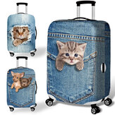 Honana Denim 3D Cute Cat Cachorro Elastic Luggage Cover Trolley Caso Cover Durable Mala Protector para 18-32 Inch Caso Warm Travel Accessories