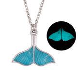 Moda Luminosa Azul Sereia Fishtail Pingente Colar