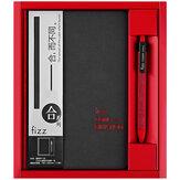 Fizz FZ335009 Dizüstü ve Jel Kalem Hediye Kutu Takım Kalınlaşmak Iş Sert Kapak A5 Yazma Dizüstü 0.5mm Siyah Mürekkep Jel Kalem Kırtasiye Okul Ofis Malzemeleri