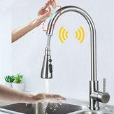 Robinets d'évier de cuisine en acier inoxydable mélangeur capteur tactile intelligent retirer la grue du robinet de mélangeur d'eau froide chaude