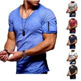 Camiseta masculina com decote em V Aptidão Camiseta de musculação High Street verão manga curta com zíper casual top de algodão