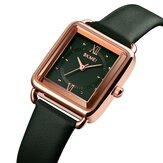 SKMEI 1702 Square Dial Classic Reloj de pulsera para mujer Piel Genuina Banda Reloj de cuarzo informal