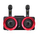 Bakeey SD-307 مكبر صوت بلوتوث لاسلكي 30 واط مزدوج السائقين ستيريو TF بطاقة AUX-In 1800mAh Luminous Home Karaoke Portable Family Soundbar with Dual Wireless Microphones