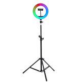 8/10inch 360° Adjustment RGB LED Ring Light Full Color LED Selfie Fill Light Phone Video Makeup Lamp Tripod for Photography Vlog Youtube Facebook Tiktok Live Broadcast