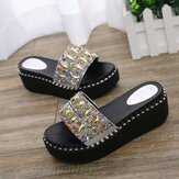 Women Rhinestone Decor Platform Slide Sandals