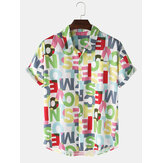 Design Colorful Carta Imprimir botão Up Pocket manga curta Mens camisas