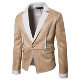 Mens Thick Warm Winter Lapel Collar Fit Suede Jacket