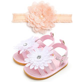 Female Baby Shoes Baby Shoes Girls Baby Shoes Soft Bottom Non-slip Toddler Shoes With Hair Band Headwear 2 Sets