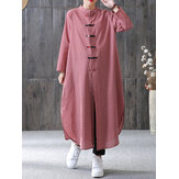 Frauen Plaid Plate Buckle Langarm Casual Loose Chinese Style Shirt Kleid