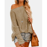 Women Off Shoulder Long Sleeve Blouse Casual Pullover Knit Sweaters