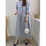 Cotton Split Hem Front Pocket Casual Loose Maxi Dress