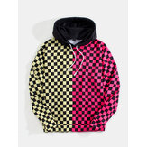 Mens Plaid Print Patchwork Kangaroo PocketLong Sleeve Design Hoodies
