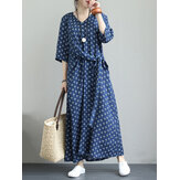 Vintage Floral Print V-neck Bandage 3/4 Sleeve Maxi Dress