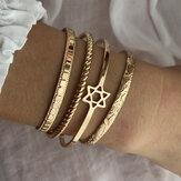 4 шт. Модные креативные золотые открытия Сердце Star Moon Дизайн браслет набор Женское браслет ювелирные изделия