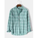Heren 100% katoen geruite opstaande kraag Henley-shirts met lange mouwen