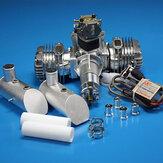 DLE111 111CC Motor Gasolina Cilindro doble Escape lateral de dos tiempos Desplazamiento de arranque manual refrigerado por aire natural para aviones RC