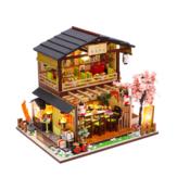 Homeda M2011 estilo Japonês Sushi Restaurante DIY Boneca Casa Montagem de Cabine Brinquedo Criativo Com Tampa Protetora Contra Poeira Brinquedos de Interior