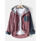 Mens Contrast Patchwork Corduroy Long Sleeve Chest Pocket Drawstring Hooded Shirts