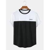 メンズパッチワークレタープリント通気性のあるラウンドネックカジュアル半袖Tシャツ