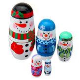 5 Stks / set Kerstmis Houten Russische Nesting Poppen Sneeuwpop Decoraties Eve Voor Kid Gift
