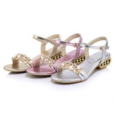 Rhinestones Open Toe Low Heel Sandals