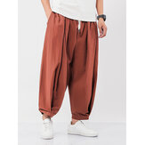 Mens 100% Cotton Solid Color Drawstring Pocket Casual Harem Pants