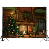 2020 Christmas Backdrop Fireplace Tree Winter Window Room Interior Baby Birthday Photography Background for Photo Studio Photophone