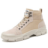 Men High Top Outdoor Work Style Slip Resistant Canvas Boots