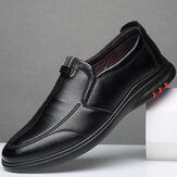 Men Comfy Breathable Microfiber Leather Black Business Casual Shoes