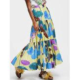 Mulher Colorful saia longa em camadas com estampa floral solta elástica cintura linha A