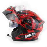 DOT SOMAN 955 Moto bluetooth Casco integrale Casco Flip Up a doppia visiera con cuffia BT Auricolare