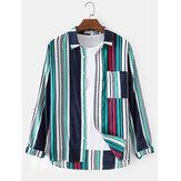 Polka Dot Stripe Print manga longa bolso de algodão respirável camisas para homens