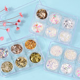6 Pcs 3D Glass Glitter Nail Sequin Set Seni Dekorasi