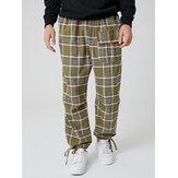 Jogger da uomo in cotone scozzese multi tasche con coulisse casual in vita elastica Pantaloni