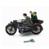 Motocykl z pasażera w Sidecar Retro Clockwork Wind Up Tin Toys With Box