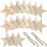 10Pcs Blank Star Shape Wood Chip Sheet Hanging Tags Cutouts Laser Engraving Wooden DIY Crafts