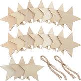 10 Pz Foglio a forma di stella in bianco Foglio di legno appeso Tag Ritagli Laser Incisione in legno Artigianato fai da te
