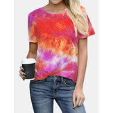 Tie-dye Print Round Neck Short Sleeve Loose Casual T-shirts Women