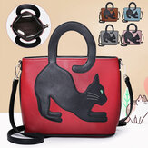 Women Faux Leather Cute Cat Pattern Casual Handbag Crossbody Bag