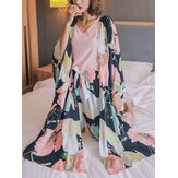 4Pcs Women V-Neck Sleeveless Pink Tops Floral Print Pants Home Casual Pajamas With Robes