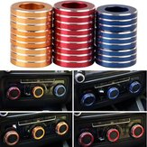3pcs / Set Cars Alu Decoratieve Knop Ring Air Conditioning Knop Ring voor New Sagitar 2012-2014 Golf 6
