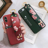 Fashion Flower Padrão Strap Ring Grip Stand Protetora Caso Para iPhone XR / XS/XS Max / X / 8/8 Plus/7/7 Plus / 6s / 6s Plus/6/6 Plus