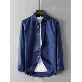Мужские Винтаж практичные карманные рубашки сплошного цвета
