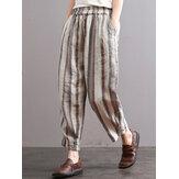 S-5XL Vintage Kadın Şeritli Elastik Bel Çıbanı Pantolon