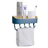 Łazienka Ścienna półka do przechowywania Przechowywanie w kuchni Caddy Rack Organizer Taca Uchwyt na ręczniki Bez wiertarki z haczykiem