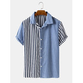 Banggood Designed Mens Striped Patchwork Lapel Casual Shirts