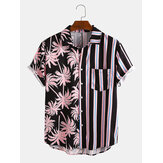Mænd Coconut Tree Colorful Stribe Blandet Print Kortærmet Casual Holiday Shirts