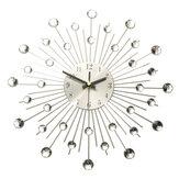 33cm Şeffaf Diamante Kristal Efekt Mücevherli Sunburst Gümüş Metal Tel Duvar Saat